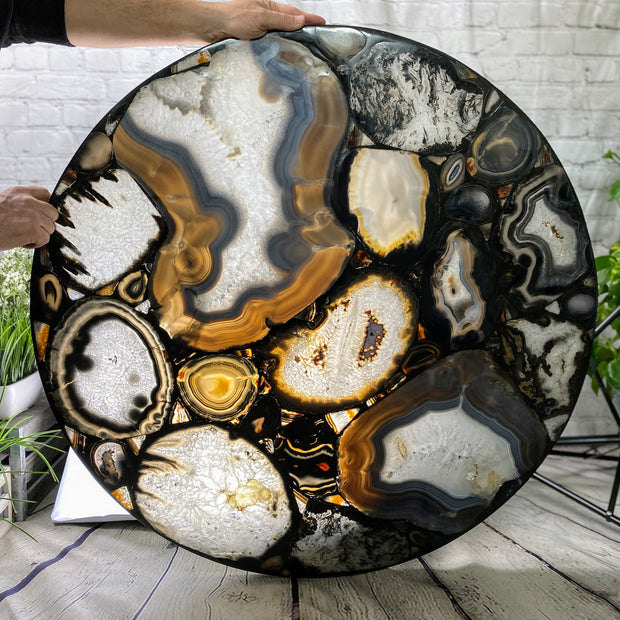 "Handmade, all natural Brazilian Agate round table with 36"" diameter and 29"" tall (1003-0001)"