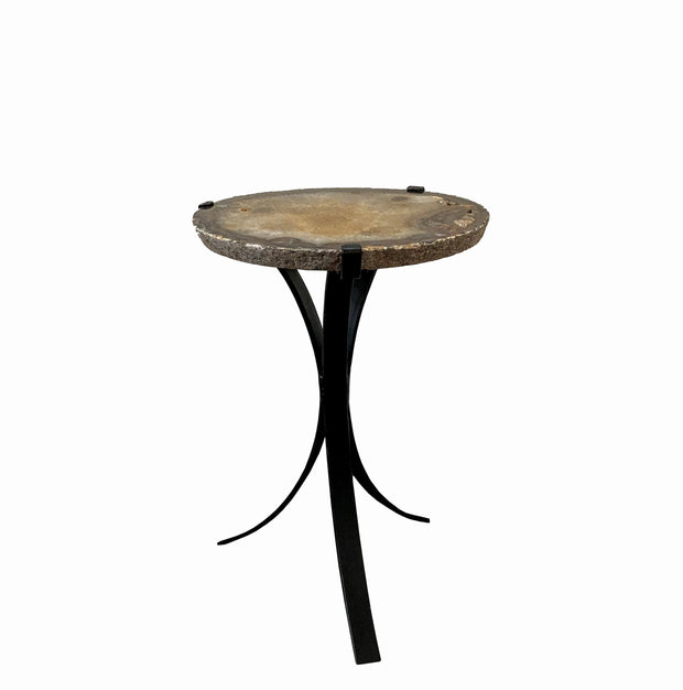 "Natural Agate side table w/ a 0.75"" thick slice of stone on black metal base, 15.75"" tall"