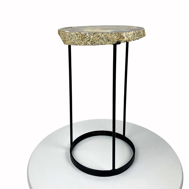 "Natural Brazilian Agate side table, single slice of stone on black metal base, 20"" tall"