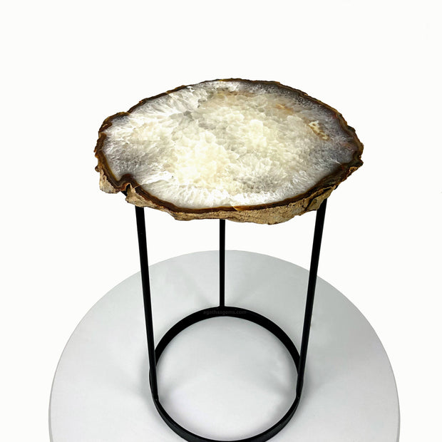 "Natural Brazilian Agate side table, single slice on black metal base, 20"" tall"