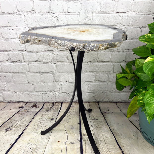 "Natural Brazilian Agate side table, single slice on black metal base, 22"" tall (1305-0010)"