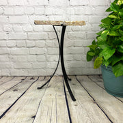 "Natural Brazilian Agate side table, single slice on black metal base, 22"" tall (1305-0011)"