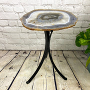 "Natural Brazilian Agate side table, single slice on black metal base, 21"" tall (1305-0013)"