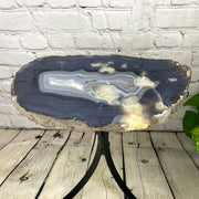 "Natural Brazilian Agate side table, single slice on black metal base, 21.5"" tall (1305-0014)"