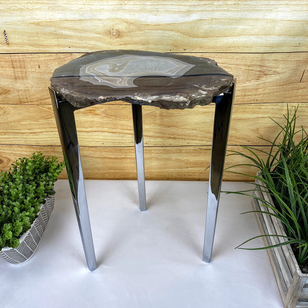"Natural Brazilian Agate side table, single slice on stainless steel base, 22"" tall (1305-0015)"