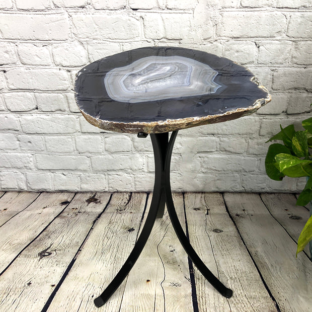 "Natural Brazilian Agate side table, single slice on black metal base, 22"" tall (1305-0017)"