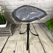 "Natural Brazilian Agate side table, single slice on black metal base, 22"" tall (1305-0020)"