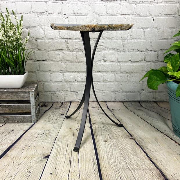 "Natural Brazilian Agate side table, single slice on black metal base, 22"" tall (1305-0021)"