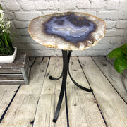 "Natural Brazilian Agate side table, single slice on black metal base, 22"" tall (1305-0022)"