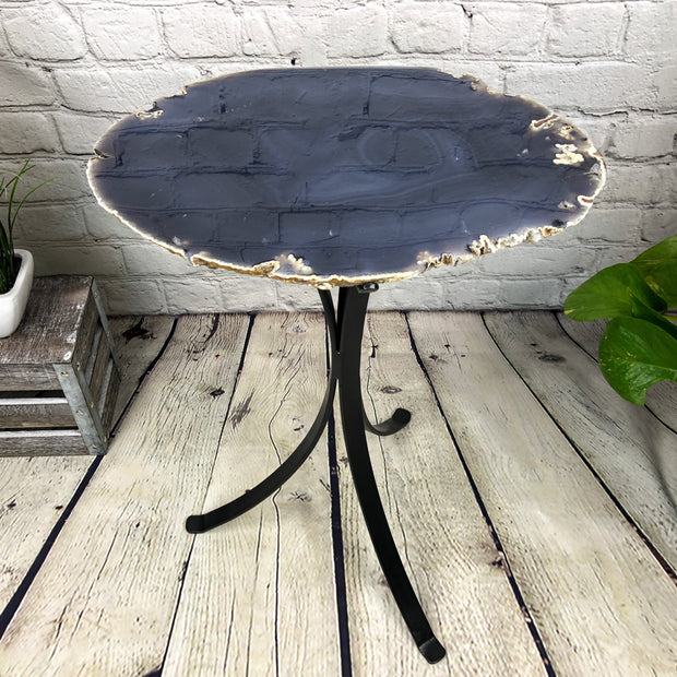 "Natural Brazilian Agate side table, single slice on black metal base, 22"" tall (1305-0023)"