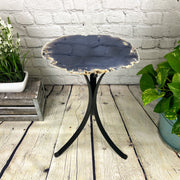 "Natural Brazilian Agate side table, single slice on black metal base, 22"" tall (1305-0024)"