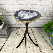 "Natural Brazilian Agate side table, single slice on black metal base, 22"" tall (1305-0025)"