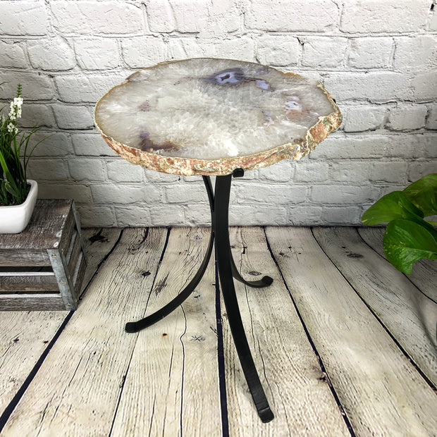 "Natural Brazilian Agate side table, single slice on black metal base, 22"" tall (1305-0026)"