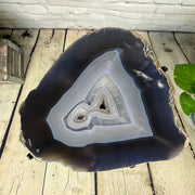 "Natural Brazilian Agate side table, single slice on black metal base, 22"" tall (1305-0028)"