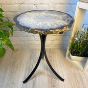 "Natural Brazilian Agate side table, single slice on black metal base, 22"" tall (1305-0031)"