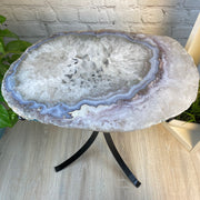 "Natural Brazilian Agate side table, single slice on black metal base, 22"" tall (1305-0033)"