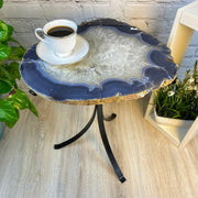 "Natural Brazilian Agate side table, single slice on black metal base, 22"" tall (1305-0034)"