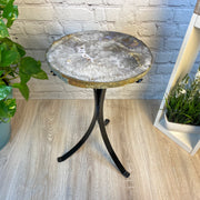 "Natural Brazilian Agate side table, single slice on black metal base, 22"" tall (1305-0042)"
