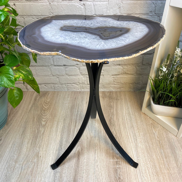 "Natural Brazilian Agate side table, single slice on black metal base, 22"" tall (1305-0046)"