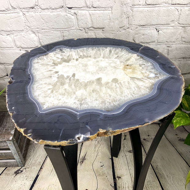 "Natural Agate Side Table, single slice, metal base, 22"" tall, 34.2 lbs (1306-0009)"