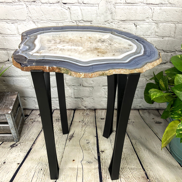 "Natural Agate Side Table, single slice, metal base, 22"" tall, 27.4 lbs (1306-0010)"