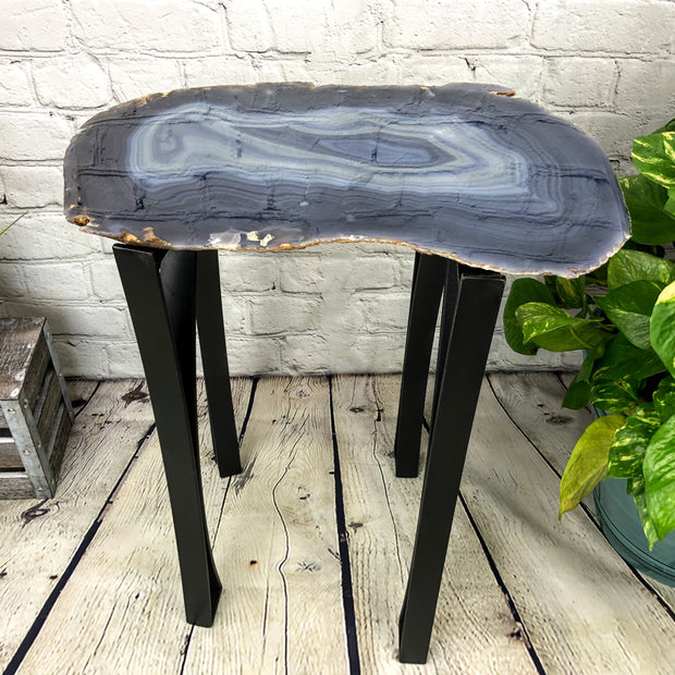 "Natural Agate Side Table, single slice, metal base, 22"" tall, 31.8 lbs (1306-0011)"