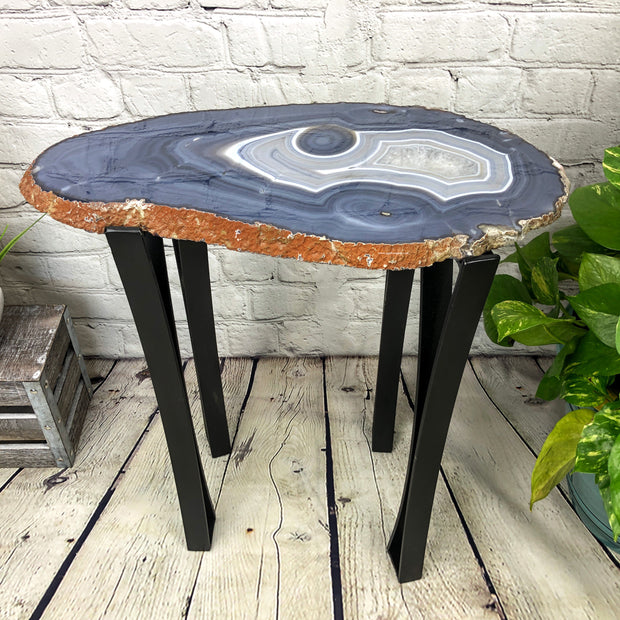 "Natural Agate Side Table, single slice, metal base, 22"" tall, 28 lbs (1306-0012)"