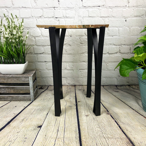 "Natural Agate Side Table, single slice, metal base, 22"" tall, 27.6 lbs (1306-0013)"