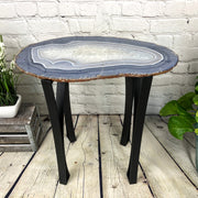 "Natural Agate Side Table, single slice, metal base, 22"" tall, 30 lbs (1306-0014)"