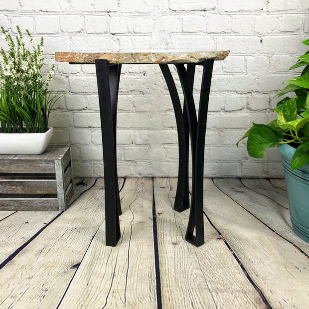 "Natural Agate Side Table, single slice, metal base, 22"" tall, 32 lbs (1306-0015)"
