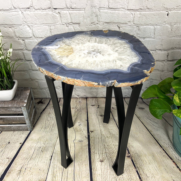 "Natural Agate Side Table, single slice, metal base, 22"" tall, 36 lbs (1306-0016)"