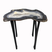 "Large Natural Agate table, single slice of stone on black metal base, 24"" Tall, 29 lbs"