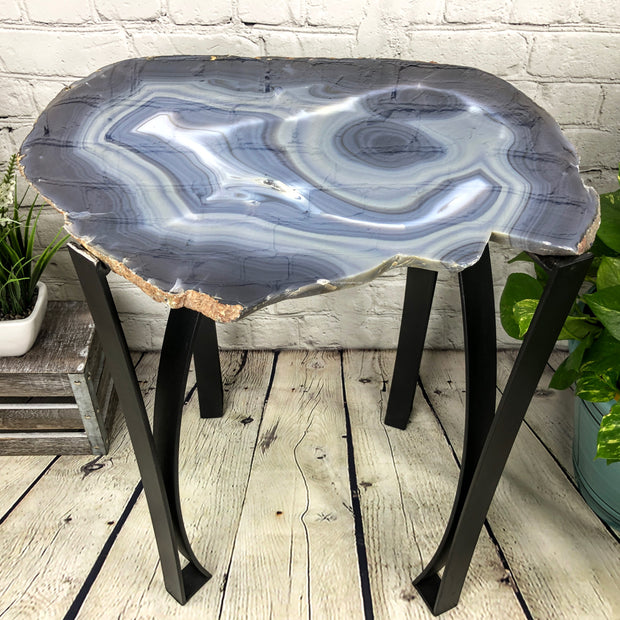 "Large Natural Agate table, single slice on black metal base, 24"" Tall, 38.6 lbs (1307-0003)"