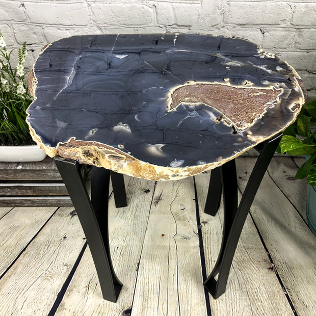 "X-Large Natural Agate table, single slice on black metal base, 24"" Tall, 52 lbs (1307-0005)"