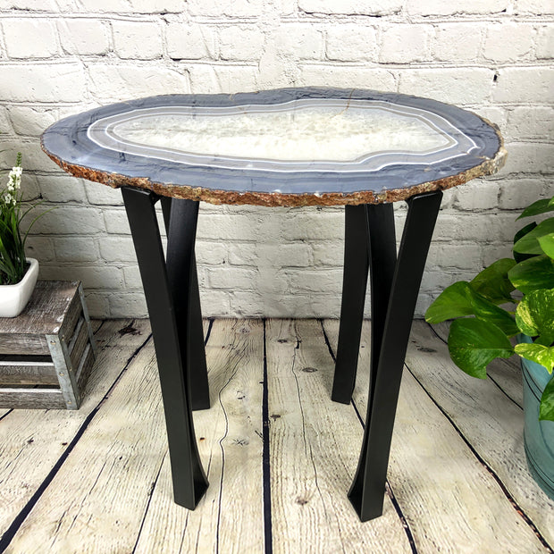 "Large Natural Agate table, single slice on black metal base, 24"" Tall, 39 lbs (1307-0008)"