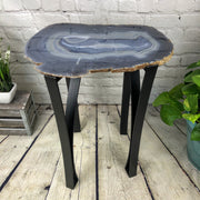 "Large Natural Agate table, single slice on black metal base, 24"" Tall, 41 lbs (1307-0009)"