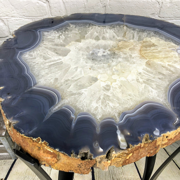 "Large Natural Agate table, single slice on black metal base, 24"" Tall, 41 lbs (1307-0010)"
