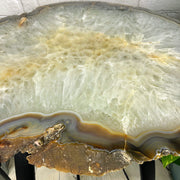 "Large Natural Agate table, single slice on black metal base, 24"" Tall, 53 lbs (1307-0011)"