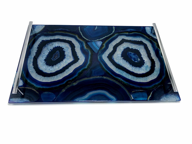 "Handmade rectangular Agate Serving Tray w/ silver handles, 16"" x 10"""