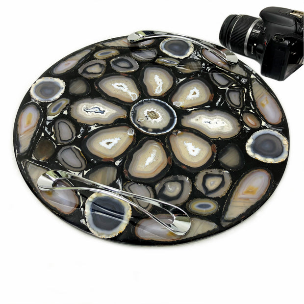 "Handmade round Agate Serving Tray w/ silver handles, 14"" diameter  (1312-0001)"