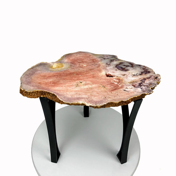 "Natural Pink Amethyst accent table, single slice, black metal base, non-polished, 18"" tall, 28 lbs"