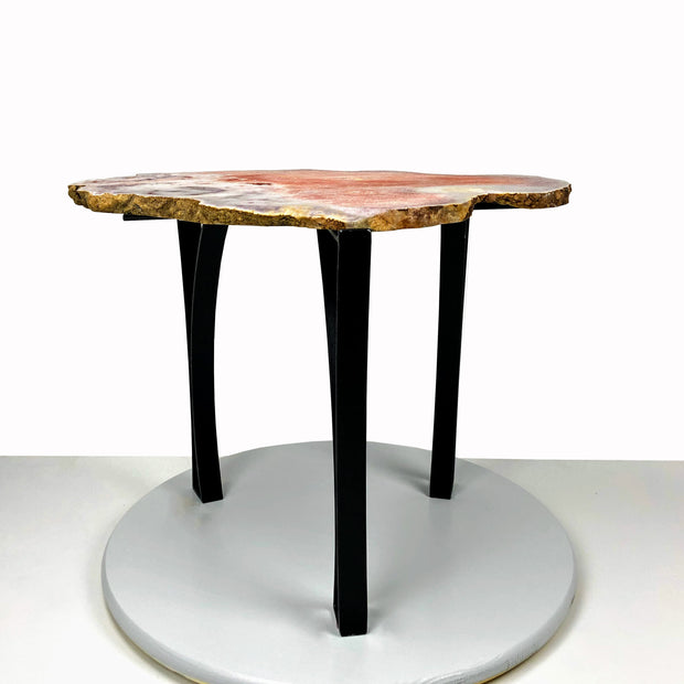 "Natural Pink Amethyst accent table, single slice, black metal base, non-polished, 18"" tall, 28 lbs (1381-0001)"