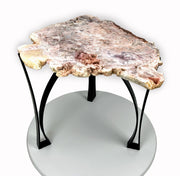 "Natural Pink Amethyst accent table, single slice, black metal base, non-polished, 18"" tall, 27.2 lbs (1381-0002)"