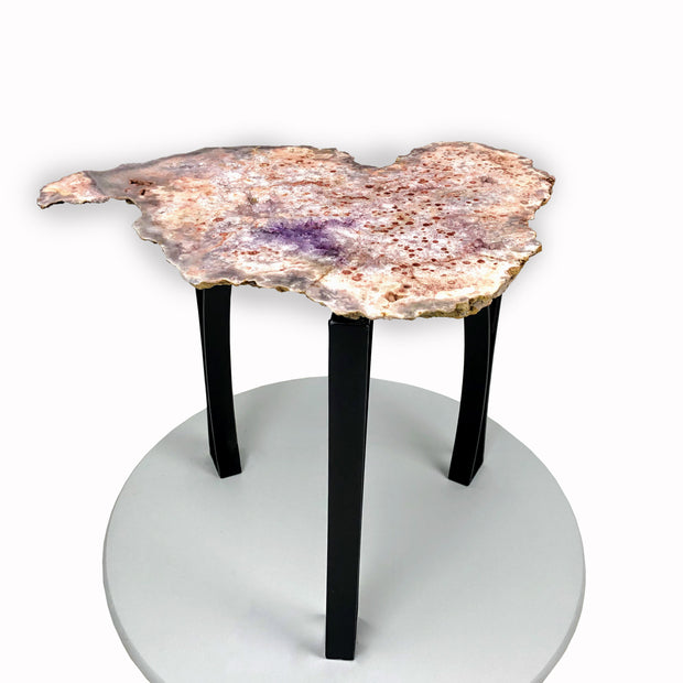 "Natural Pink Amethyst accent table, single slice, black metal base, non-polished, 18"" tall, 24.2 lbs"