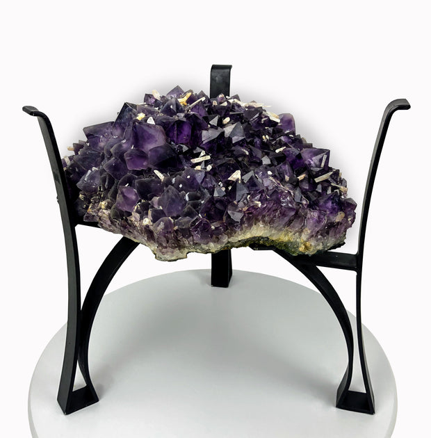 "Amethyst Geode Table, Rough Cut, 73.6 lbs, 18"" tall on black metal base"