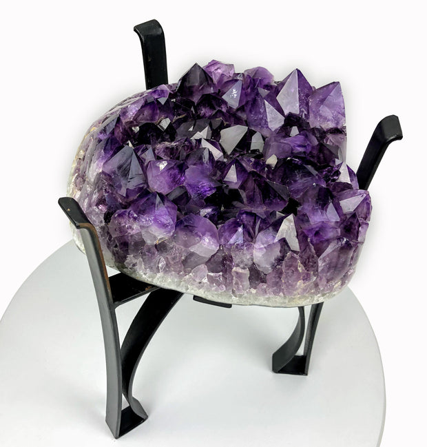 "Amethyst Geode Table, Polished, 41 lbs, 18"" tall on black metal base"