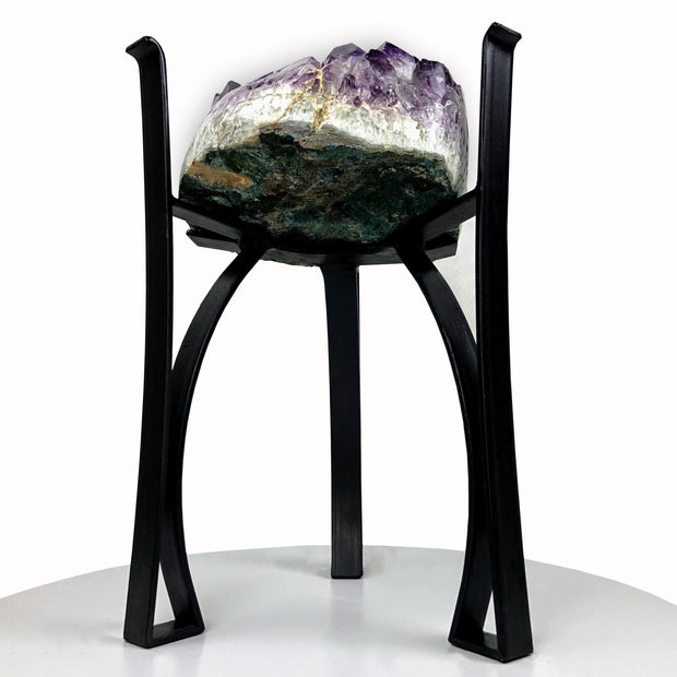 "Amethyst Geode Table, Polished edges, 40 lbs, 18"" tall on black metal base, no glass top (1385-0003)"