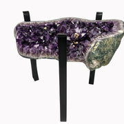 "Amethyst Geode Table, 112 lbs, 21"" tall on black metal base, no glass top"