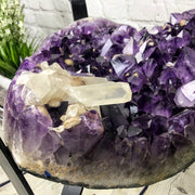 "Exquisite Heart-Shaped Amethyst Geode Table, 21"" tall, metal base, no glass top (1385-0006)"