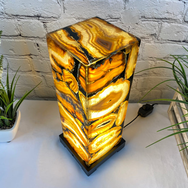 "Handmade Natural Agate LED Lamp 15"" Tall w/ wooden base (2006-0003)"